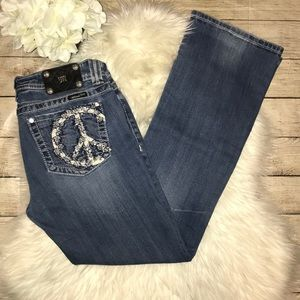 Miss Me Embroidered Peace Sign Boot Denim Jeans